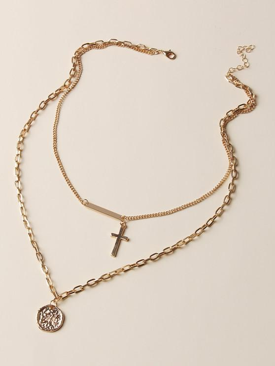 sale Cross Bar Coin Pendant Layered Necklace - GOLDEN