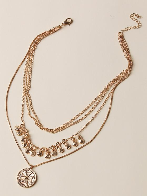 buy Fringe Coin Pendant Multilayered Necklace - GOLDEN