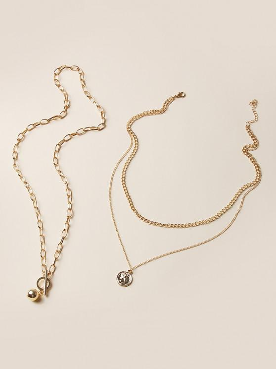 women 2Pcs Boyish Layers Coin Pendant Necklace Set - GOLDEN