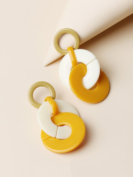 latest Colorblock Circles Acrylic Drop Earrings - MULTI-A