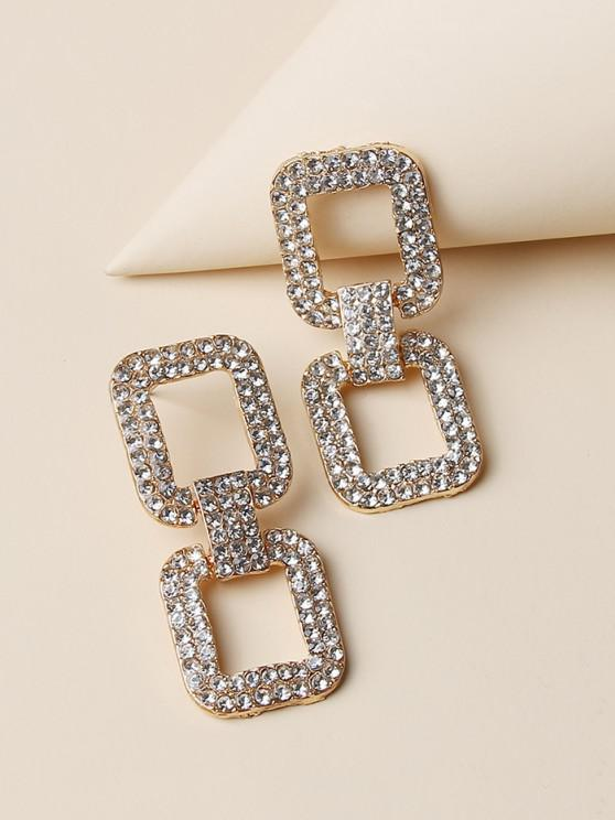 fashion Hollow Square Rhinestone Drop Earrings - GOLDEN