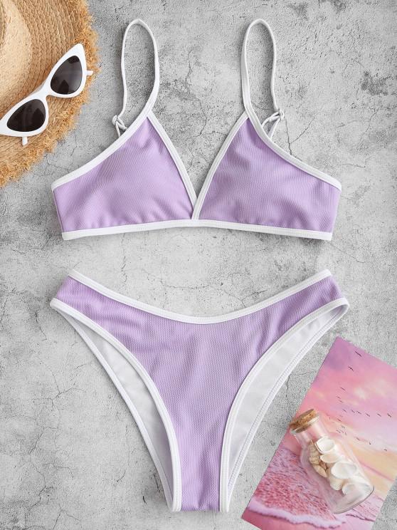 ZAFUL Textured Contrast Binding Bikini Swimwear - ضوء ارجواني S