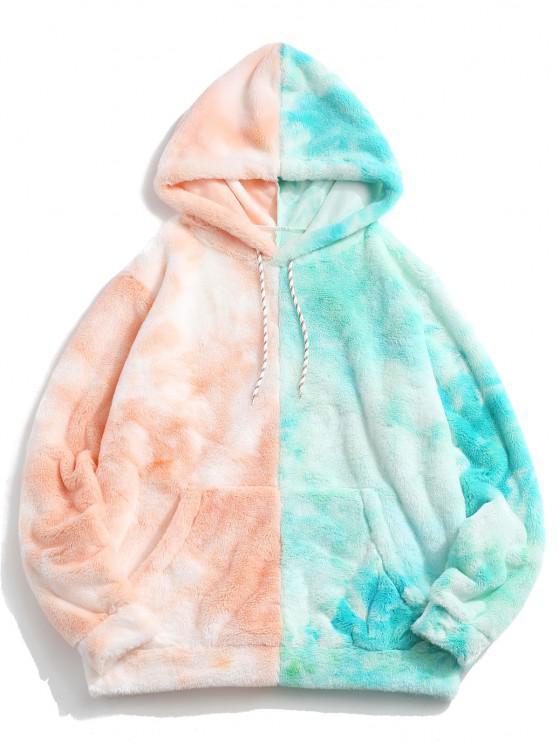 shop Contrast Tie Dye Faux Fur Fluffy Hoodie - LIGHT ORANGE 2XL