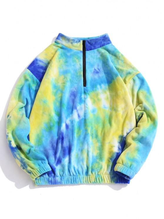 Quarter Zip Tie Dye Pattern Polar Fleece Sweatshirt - أزرق XS