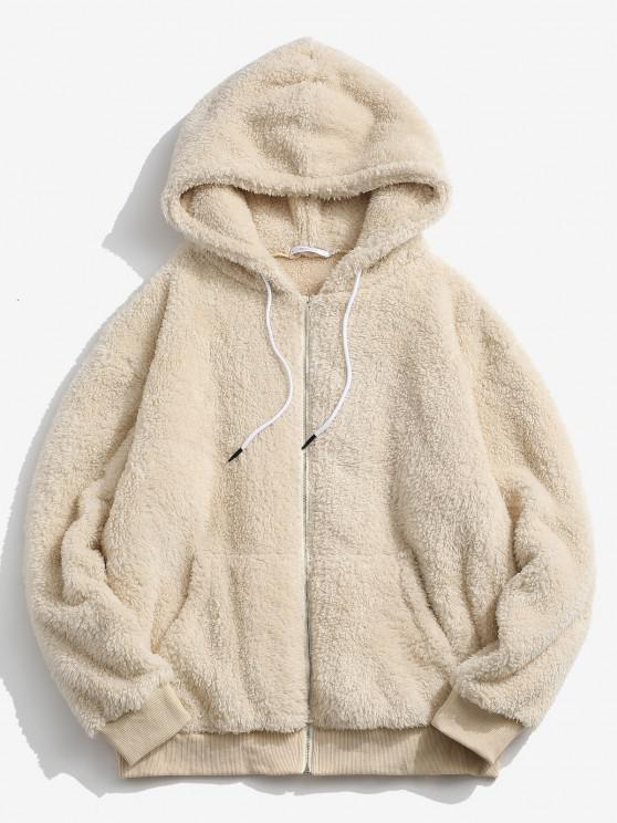 chic Hooded Zip Up Fluffy Jacket - LIGHT YELLOW M