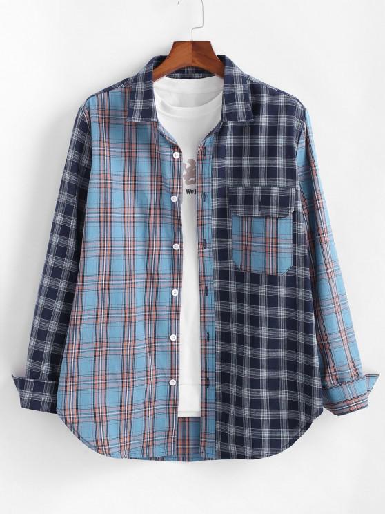 ladies Plaid Patchwork Pocket Patch Shirt - BLUE M