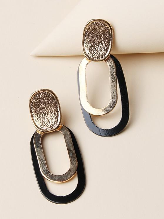 fancy Brief Oval Hollow Drop Earrings - GOLDEN