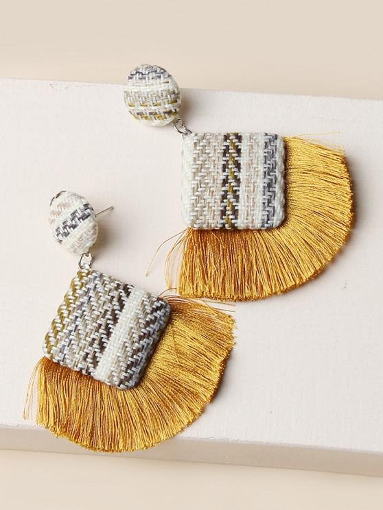 unique Bohemian Woven Fringe Earrings - YELLOW