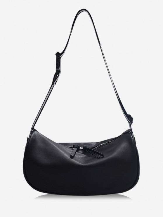 lady Striped Strap Shoulder Bag - BLACK