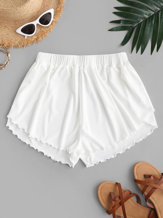 ZAFUL Lettuce Trim Ribbed Swim Shorts - أبيض M