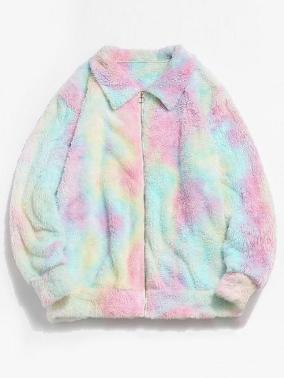 womens ZAFUL Fluffy Tie Dye Jacket - LIGHT PINK 2XL