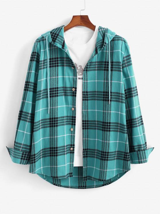 women Long Sleeve Plaid Hooded Shirt - BLUE M
