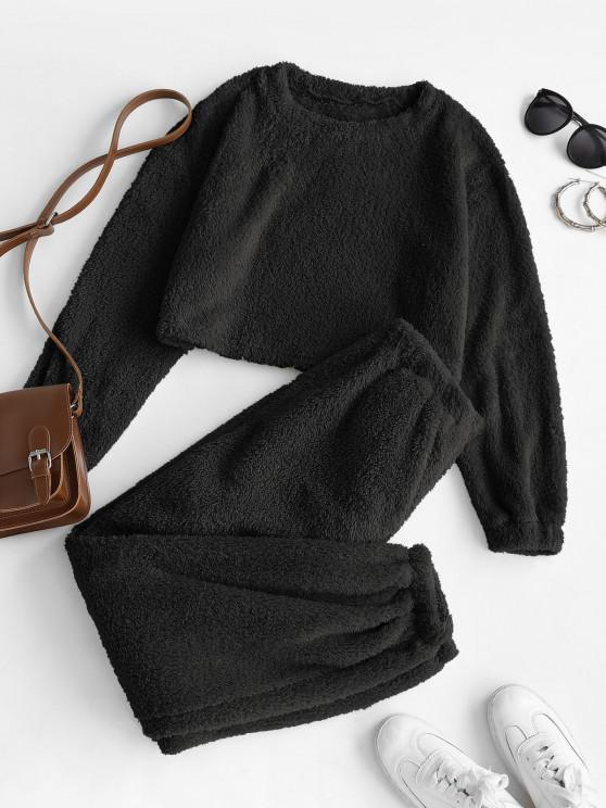 buy Lounge Fluffy Two Piece Teddy Top Pants Set - BLACK S