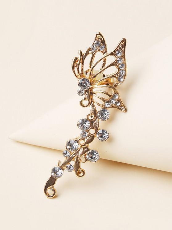 fancy Hollow Butterfly Artificial Diamond Stud Earring - GOLDEN