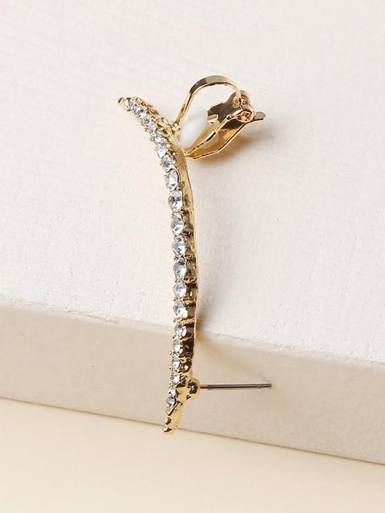 unique Rhinestone Single Stud Earring - GOLDEN