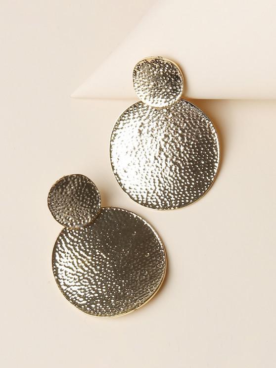 sale Hammered Disc Shape Drop Earrings - GOLDEN