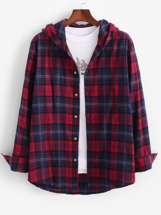 Long Sleeve Plaid Hooded Shirt Jacket - أحمر L