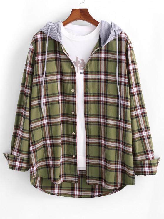 women's Plaid Print Corduroy Panel Hooded Shirt - DEEP YELLOW M