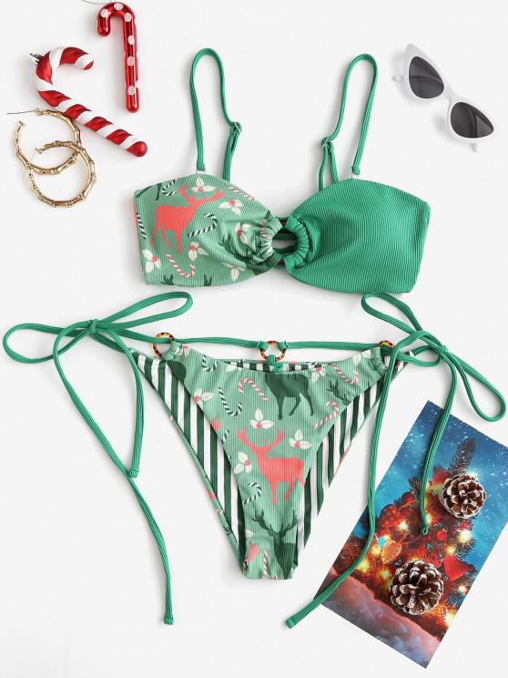 ladies ZAFUL Christmas Berry Elk O Ring Lace Up Ribbed Bikini Swimwear - DEEP GREEN S