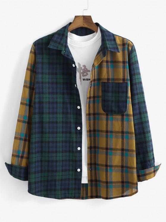 latest Colorblock Plaid Patchwork Long Sleeve Shirt - MULTI S