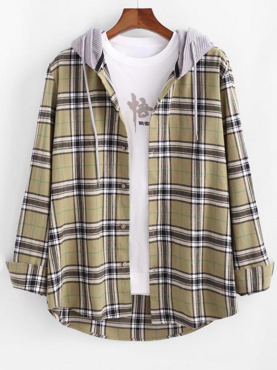 women's Plaid Corduroy Panel Button Up Hooded Shirt - LIGHT YELLOW 2XL