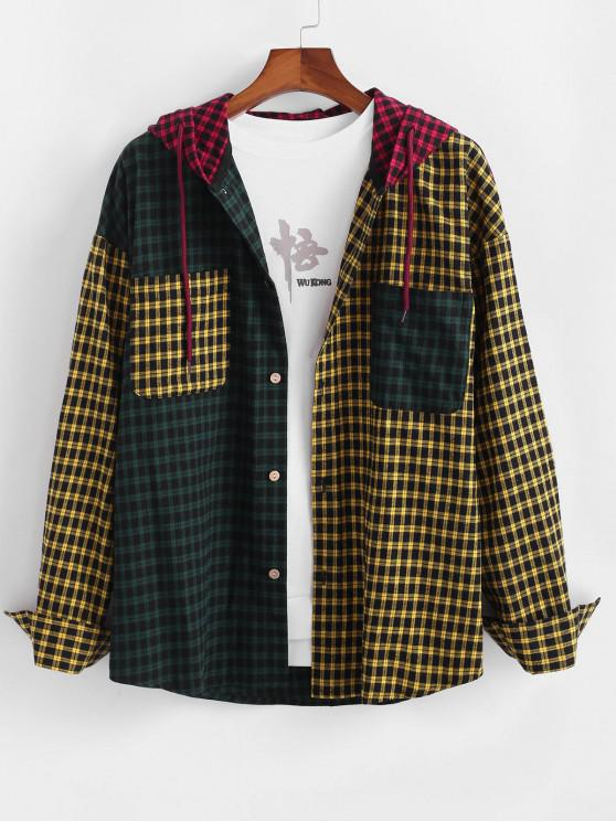 Colorblock Plaid Patchwork Hooded Shirt - متعدد M