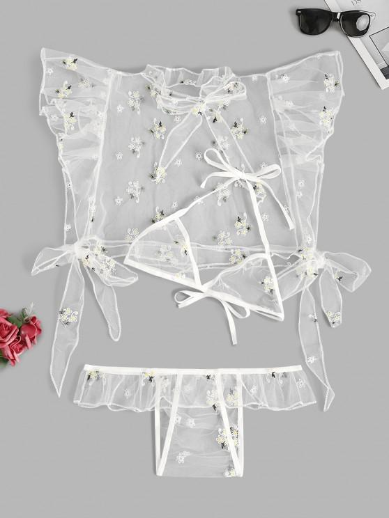 unique Floral Embroidered Ruffle Tie Mesh Lingerie Set - WHITE S
