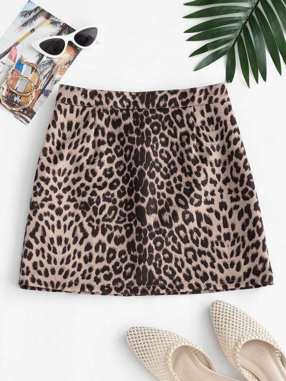 trendy Leopard Print Faux Suede Mini Skirt - MULTI M