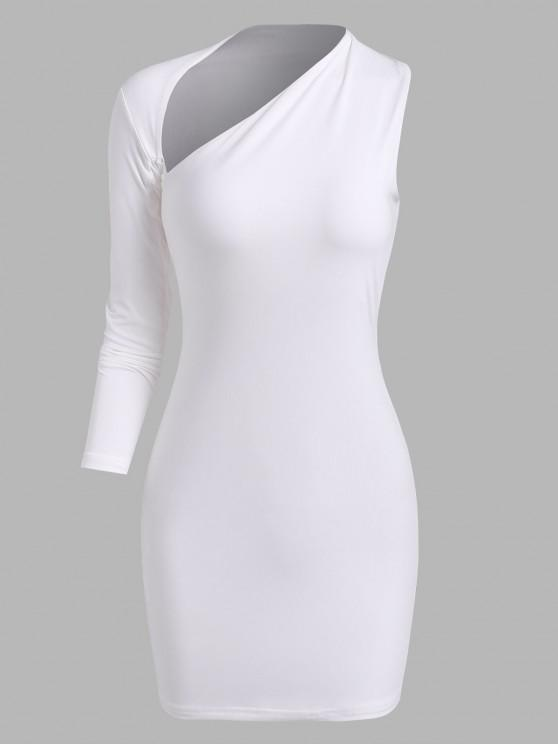 new Cut Out Asymmetrical Sleeve Slinky Dress - WHITE S