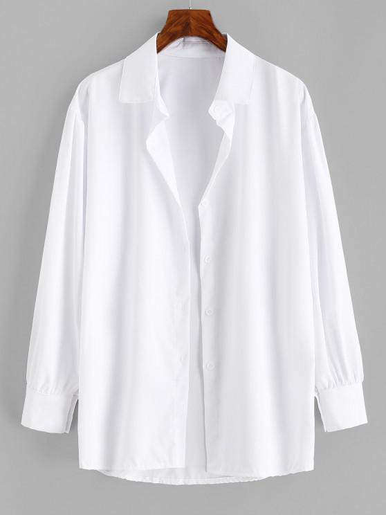 unique Button Up Drop Shoulder Plain Shirt - WHITE XL