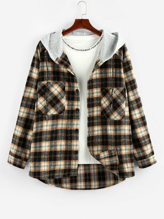 ZAFUL Hooded Plaid Print Double Pockets High Low Shirt - خشب S