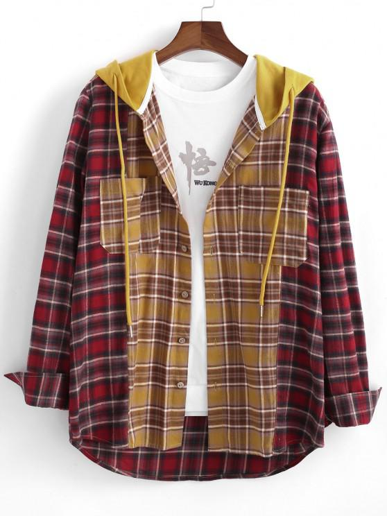 Colorblock Plaid Patchwork Hooded Shirt Jacket - اصفر غامق M