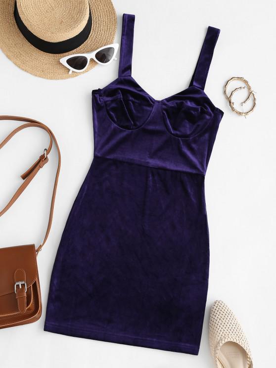 best Bustier Slinky Velvet Mini Dress - DEEP BLUE S