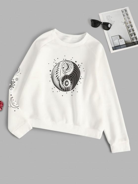 buy Star Sun and Moon Graphic Fleece Lined Sweatshirt - WHITE XL