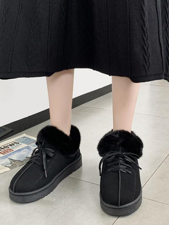 affordable Lace Up Fluffy Flat Snow Boots - BLACK EU 39