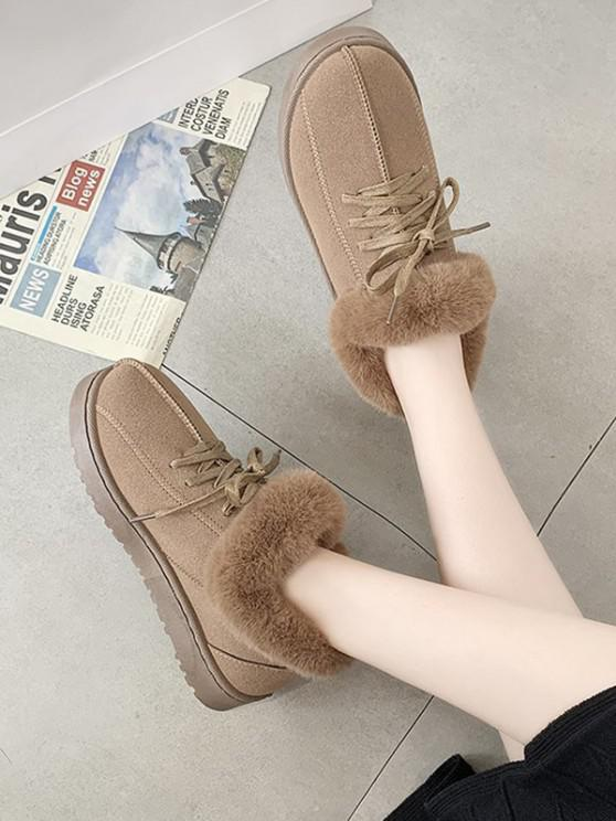 women's Lace Up Fluffy Flat Snow Boots - BROWN EU 39