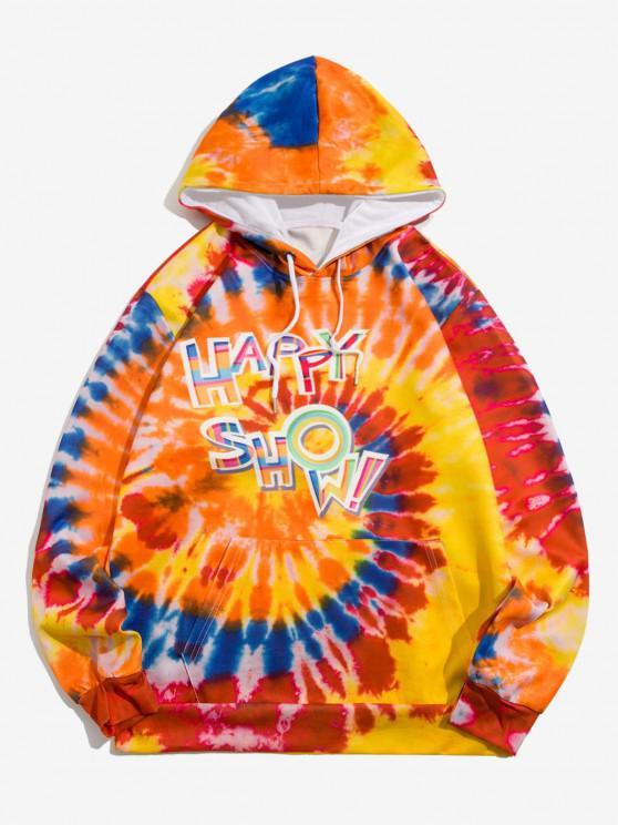 Tie Dye Happy Show Pattern Hoodie - البابايا البرتقال M
