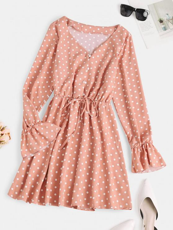 outfits Button Loop Poet Sleeve  Polka Dot Mini Dress - LIGHT PINK S