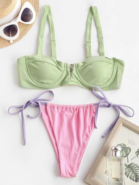 fancy ZAFUL Ribbed V Wired Tie Side Tanga Bikini Swimwear - LIGHT GREEN M