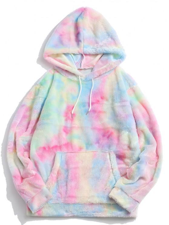 Kangaroo Pocket Tie Dye Pattern Faux Fur Hoodie - وردي فاتح XL