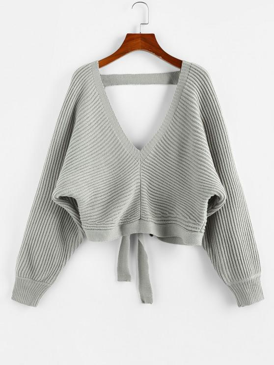 best ZAFUL Tie Back Plunging Batwing Sleeve Sweater - GRAY M