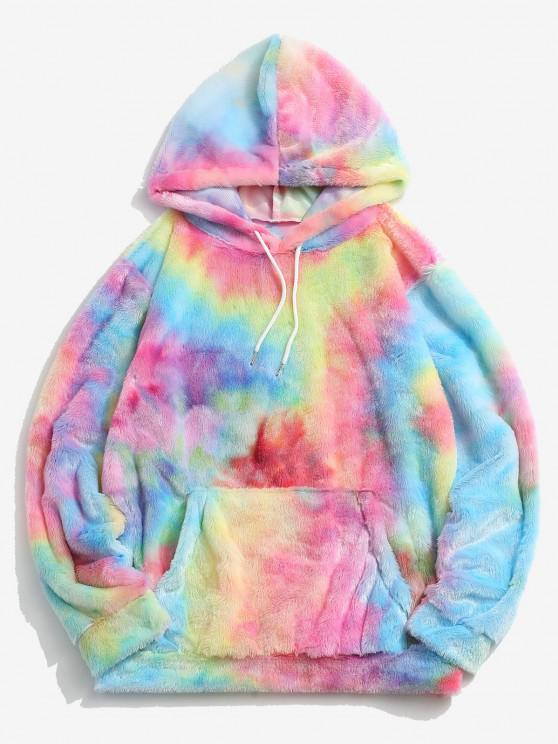 sale Kangaroo Pocket Tie Dye Pattern Faux Fur Hoodie - MULTI-B L