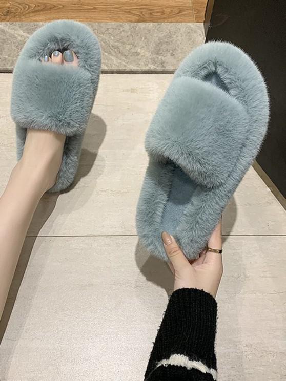 shops Faux Fur Solid Open Toe Slippers - GREEN EU 38