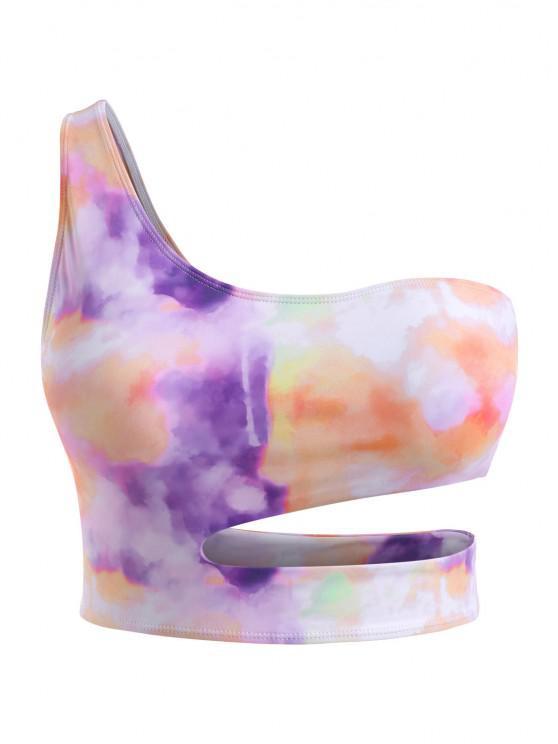 ladies ZAFUL Plus Size Tie Dye Underboob Cropped Bikini Top - LIGHT PURPLE XXL