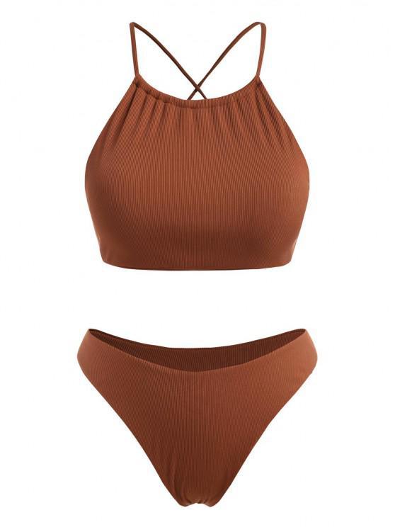 ZAFUL Plus Size Ribbed Crisscross Back High Leg Bikini Swimwear - قهوة XXXXL