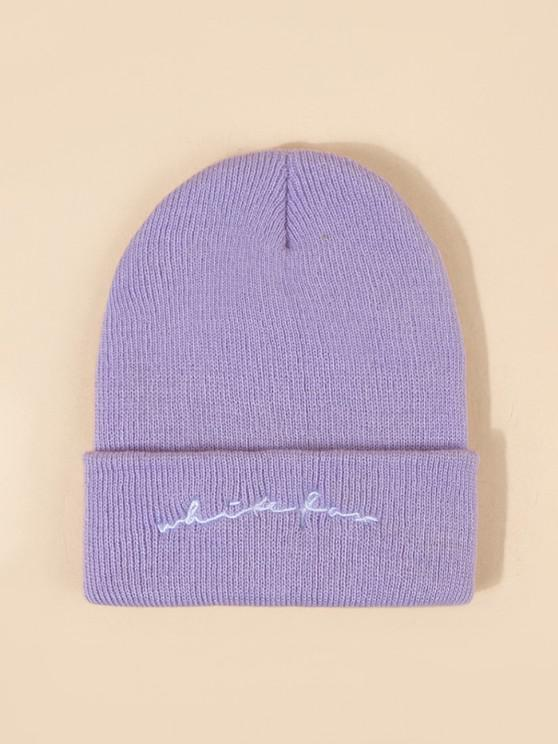 trendy Letters Embroidery Knitted Beanie - PURPLE MIMOSA