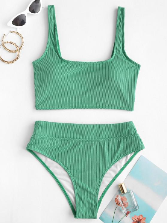 ZAFUL U Neck Ribbed Tankini Swimwear - اخضر فاتح M