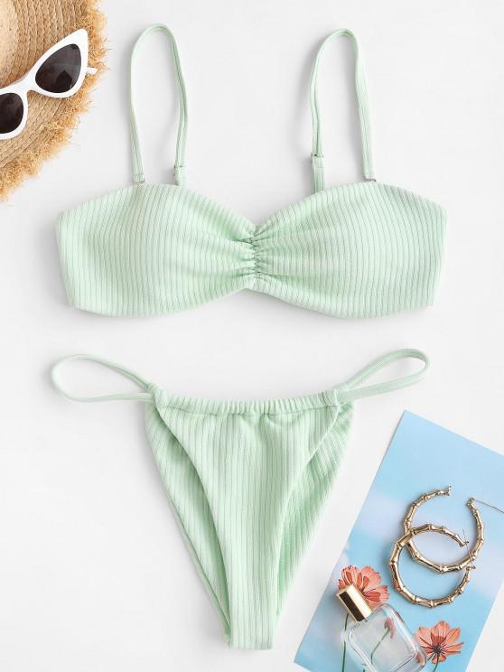ZAFUL Gerippter Bikini Badebekleidung mit Rüschen - Hellgrün S