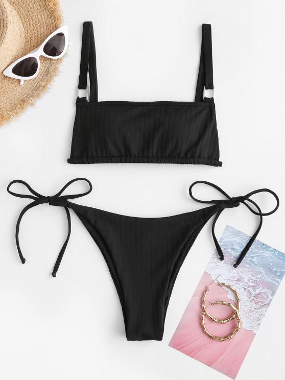 trendy ZAFUL Ribbed Padded String Bikini Set - BLACK S