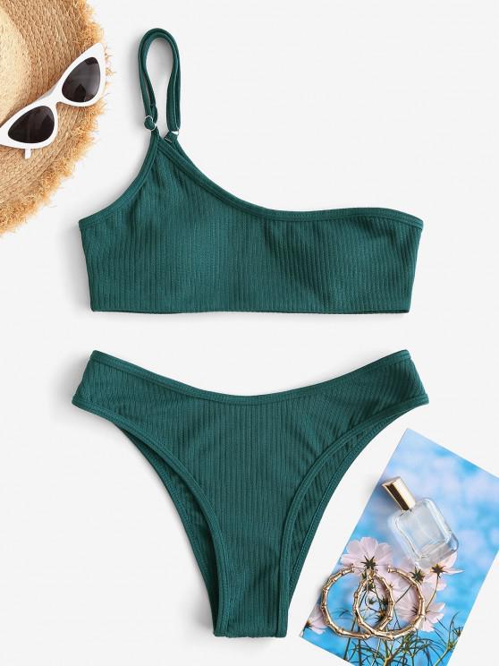 womens ZAFUL One Shoulder Textured Ribbed Bikini Swimwear - DEEP GREEN S